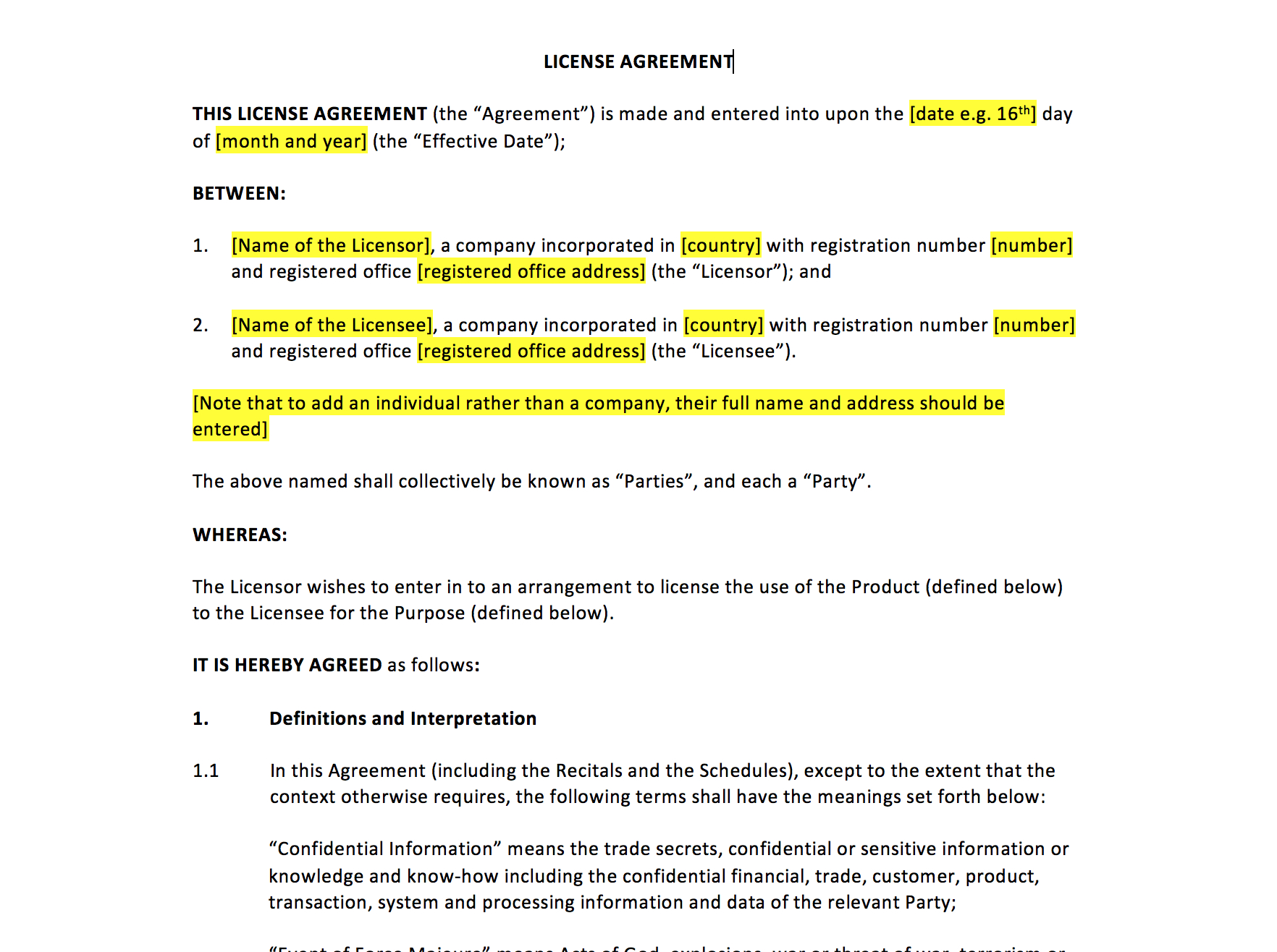 License Agreement Template – Uk Template Agreements And Sample Contracts With Intellectual Property License Agreement Template