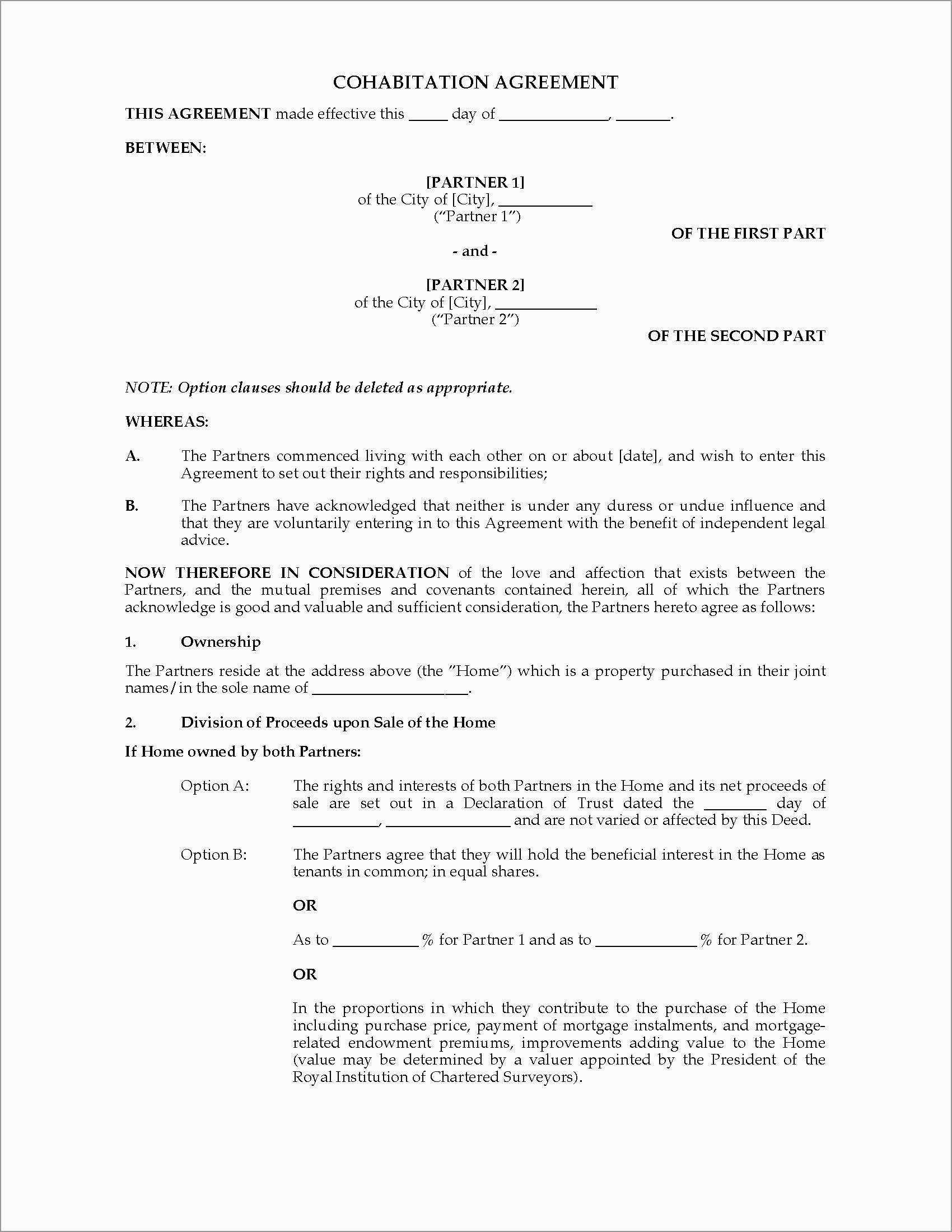 Living Together Agreement Template Free Amazing Agreement Template Throughout Free Cohabitation Agreement Template