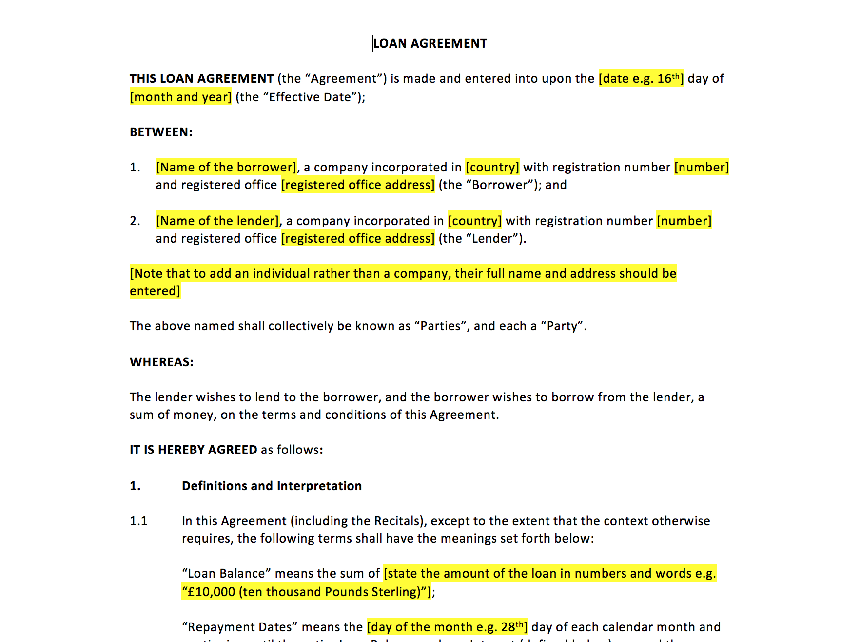 Loan Agreement Template – Uk Template Agreements And Sample Contracts Within Free Shareholder Loan Agreement Template
