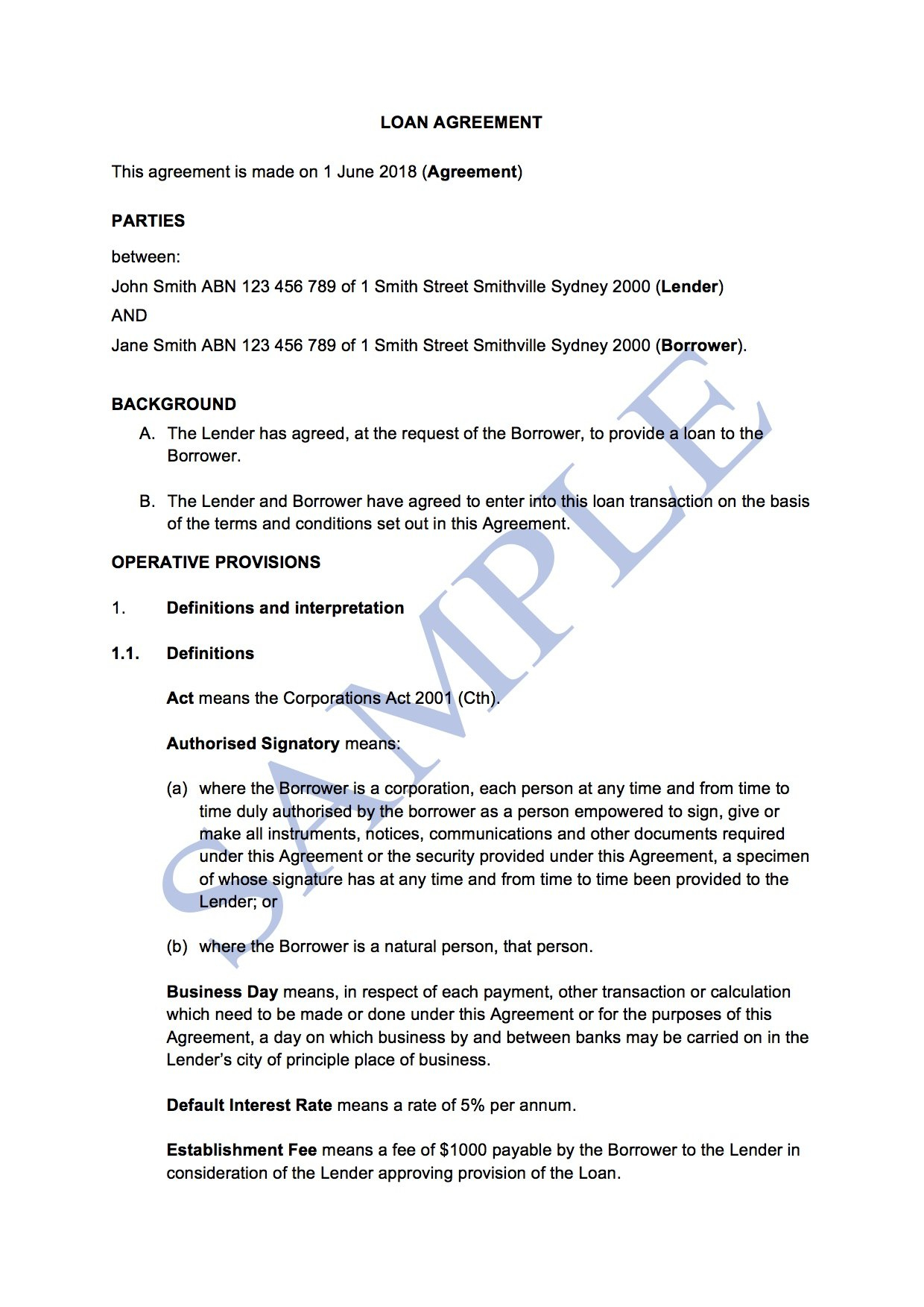 Loan Agreement With Interest  Free Template  Sample  Lawpath Intended For Division 7A Loan Agreement Template Free