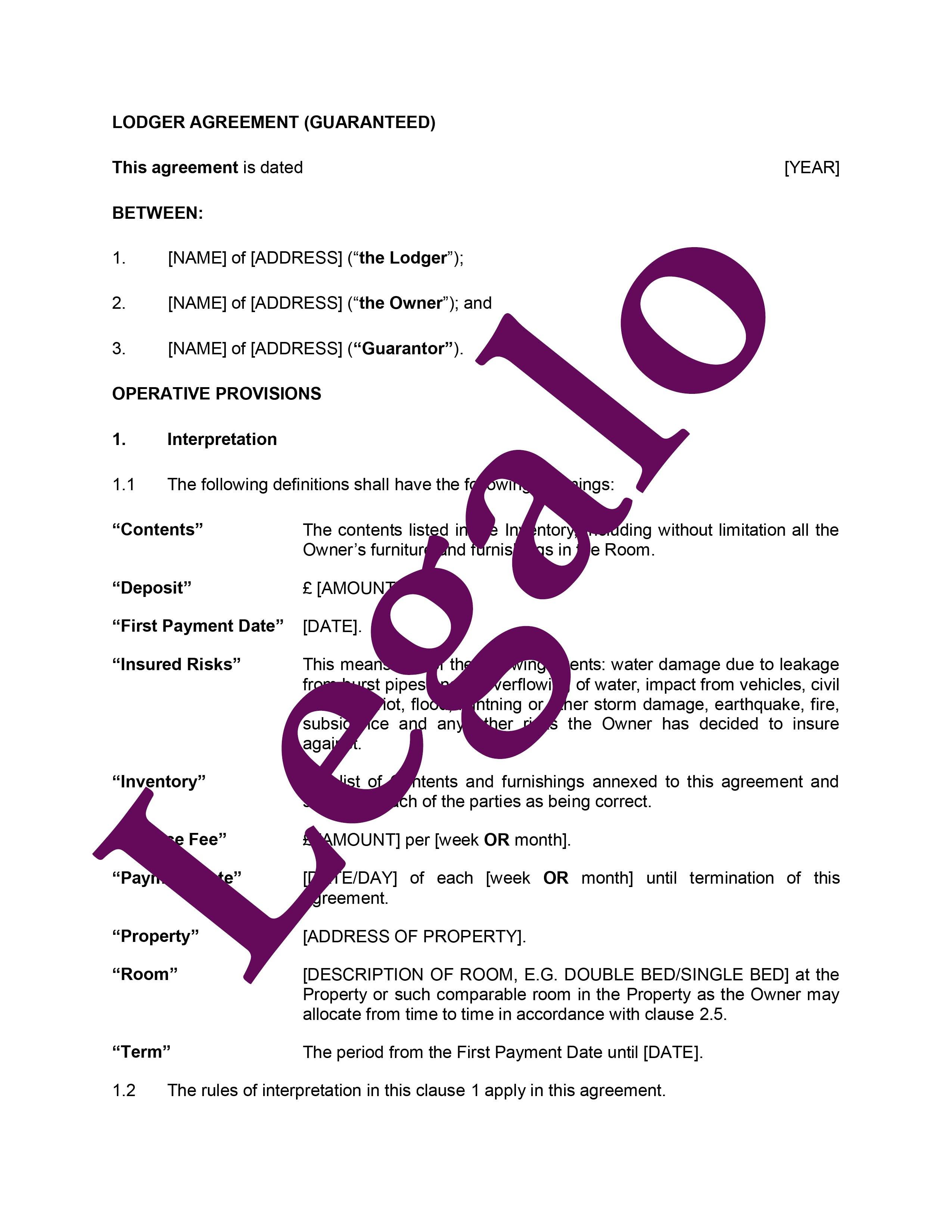 Lodger Agreement With Guarantor  Legalo United Kingdom With Landlord Lodger Agreement Template