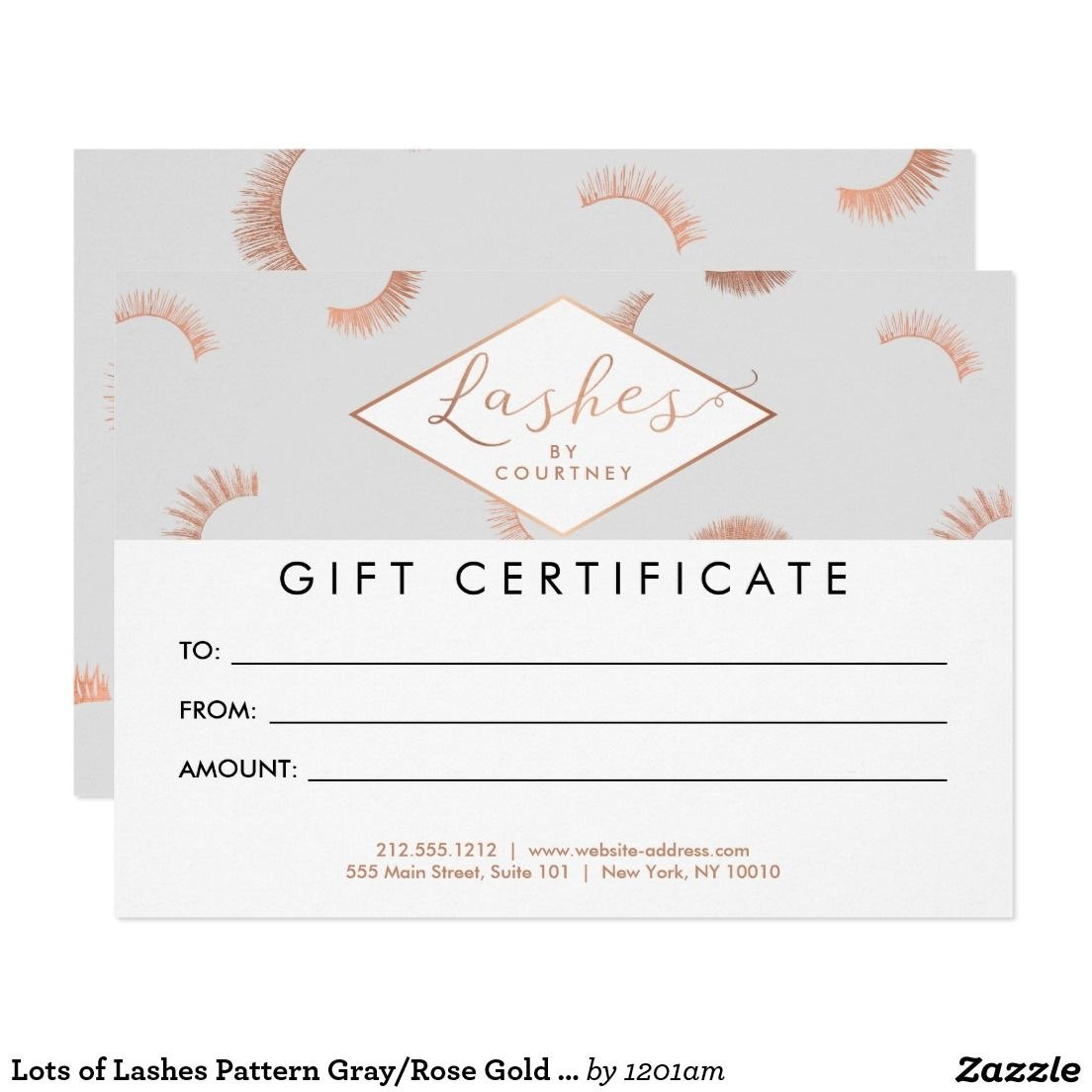 Lots Of Lashes Pattern Grayrose Gold Gift Card  Zazzle With Salon Gift Certificate Template