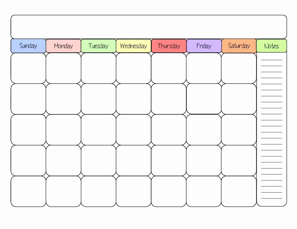 Lovely  Examples Printable Calendar Forms  Chirocentrejuiceplus Intended For Blank Calendar Template For Kids