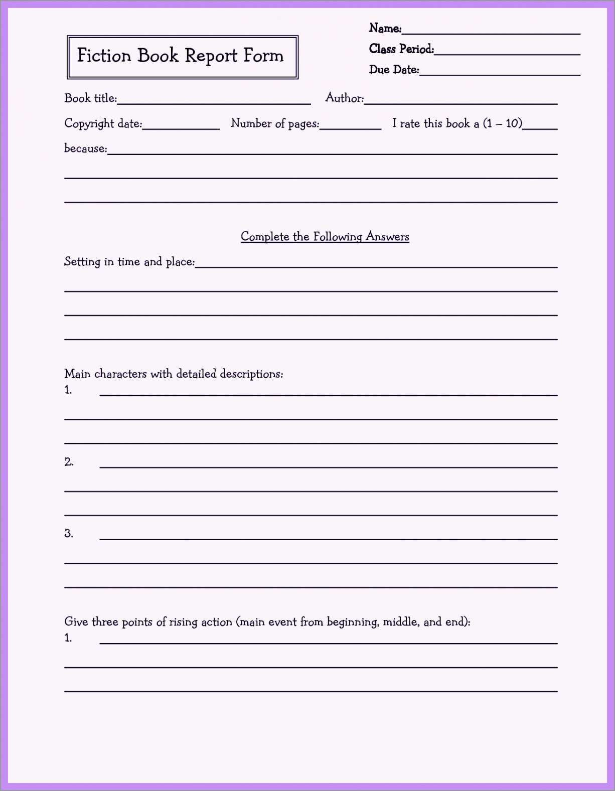Lovely Rd Grade Book Report Template Free  Best Of Template Inside 4Th Grade Book Report Template