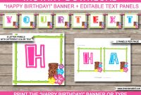 Luau Party Banner Template  Happy Birthday Banner  Editable Bunting in Free Printable Party Banner Templates