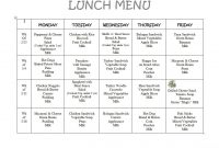 Lunch Menu – Victor Child Care Center for Child Care Menu Templates Free