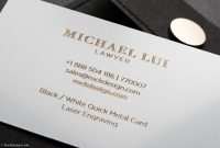 Luxury Metal Law Firm Free Black And White Business Card Template inside Lawyer Business Cards Templates