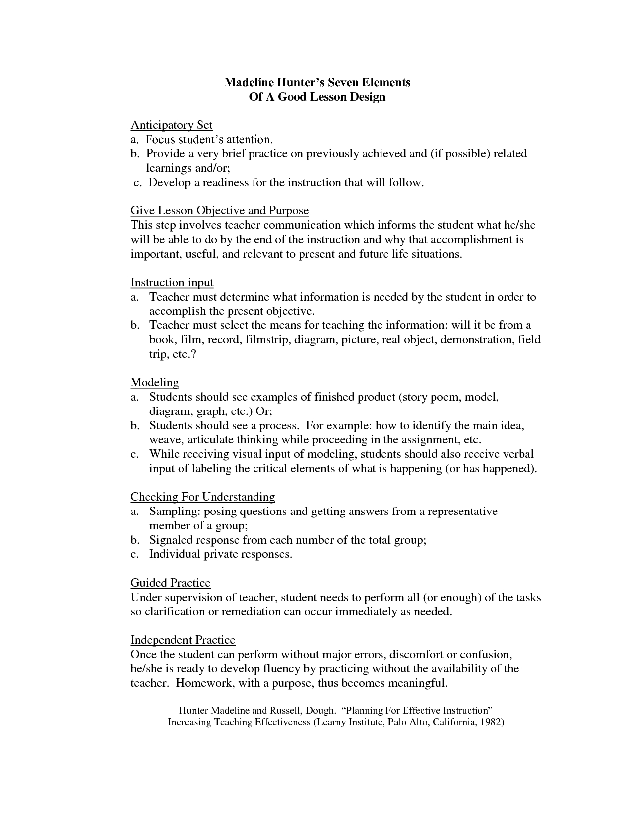 Madeline Hunter Lesson Plan Format Template  Google Search  Th With Madeline Hunter Lesson Plan Blank Template