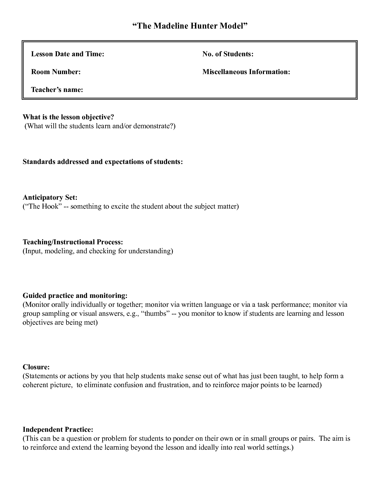 Madeline Hunter Lesson Plan Template Twiroo Com  Lesson Plan In Madeline Hunter Lesson Plan Blank Template