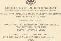 Major Robert F Burns  Army Retirement Certificate For Certificate intended for Retirement Certificate Template