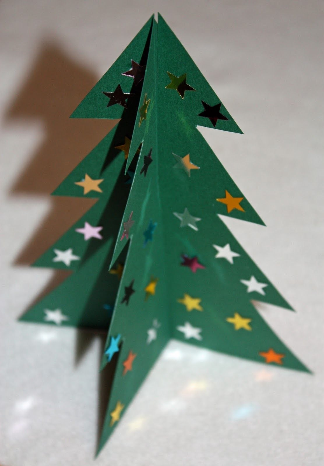 Make A D Card Christmas Tree  With Printable Template We Did This Pertaining To 3D Christmas Tree Card Template