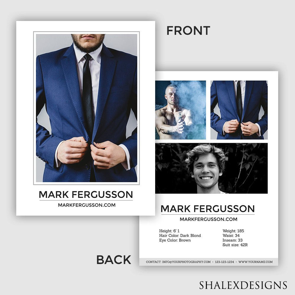 Male Modeling Comp Card Template Model Comp Card Modeling  Etsy Intended For Zed Card Template