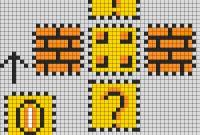 Mario Coin Block Perler Layout Perler Bead Pattern  Bead Sprites within Blank Perler Bead Template