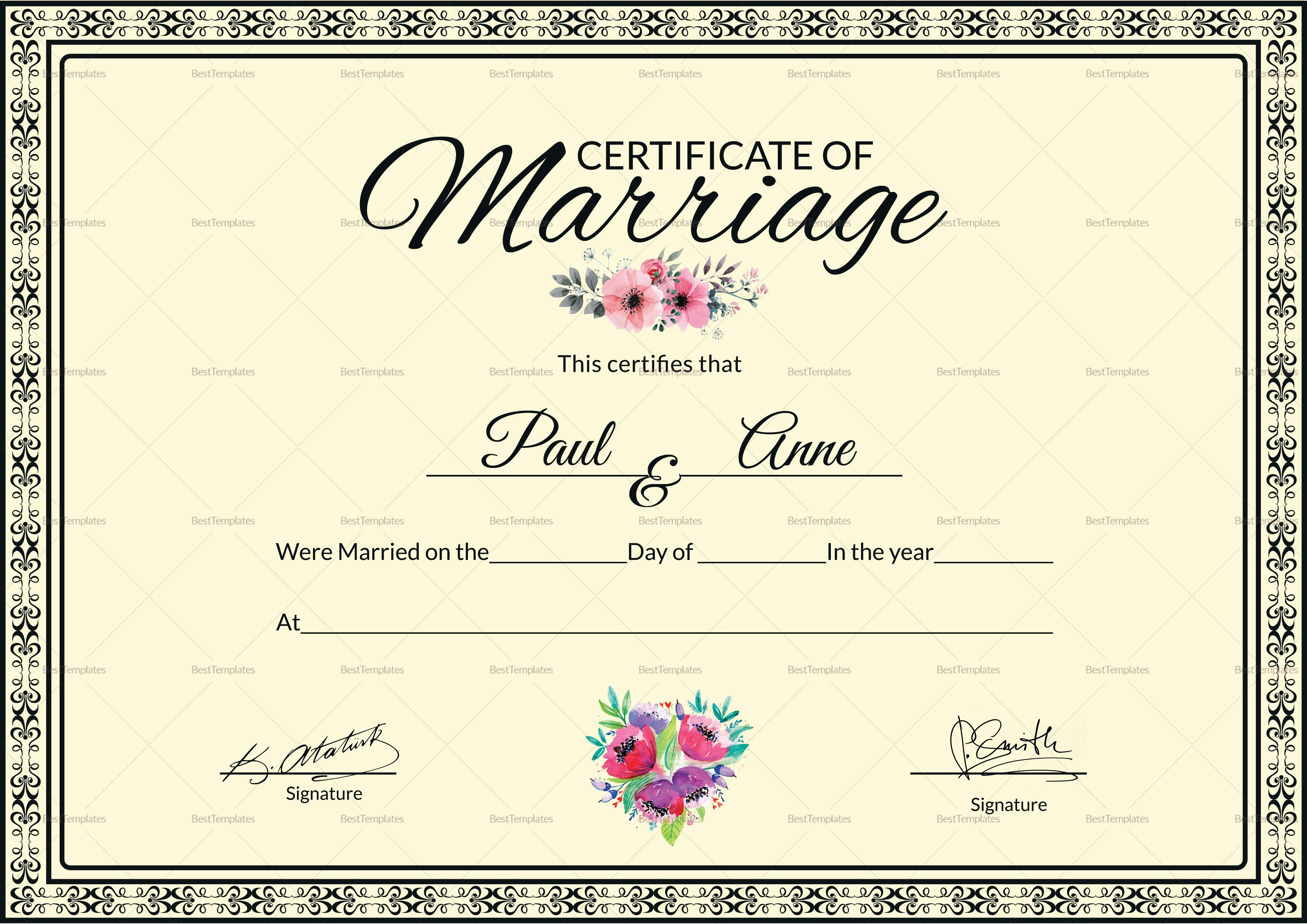 Marriage Certificate Design Template In Psd Word Pertaining To Certificate Of Marriage Template