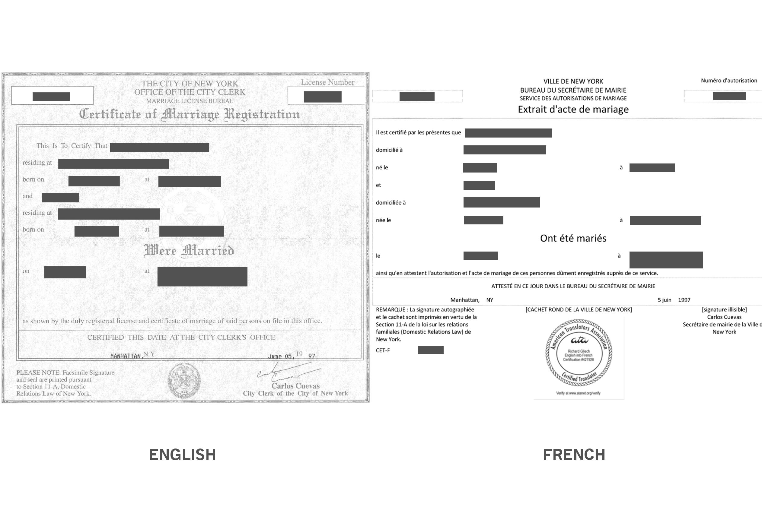 Marriage Certificate Translation Sample  Richard Gliech Translator Llc With Regard To Marriage Certificate Translation Template
