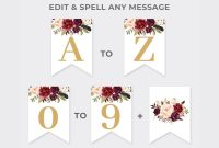 Marsala Party Banner Printable Burgundy Floral Party Pennant  Etsy intended for Bridal Shower Banner Template