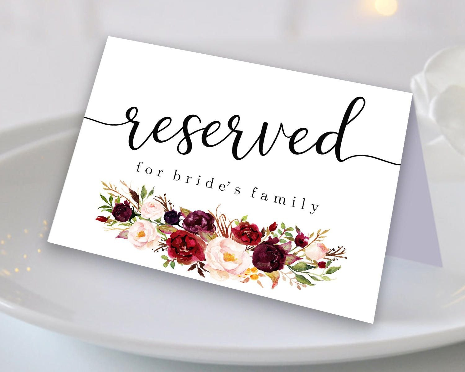 Marsala Reserved Sign Reserved Printable Reserved Wedding Sign Throughout Reserved Cards For Tables Templates