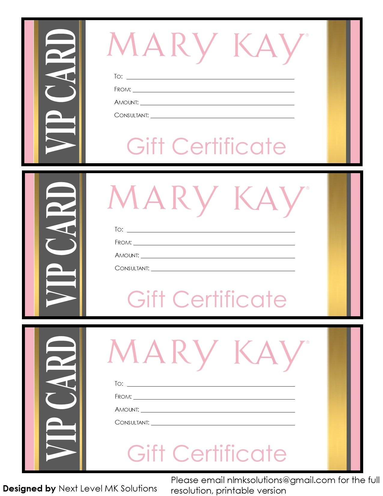 Mary Kay Gift Certificates  Please Email For The Full Pdf Printable Within Mary Kay Gift Certificate Template