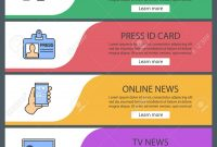 Mass Media Web Banner Templates Set Video Camera Press Id Card With Media Id Card Templates