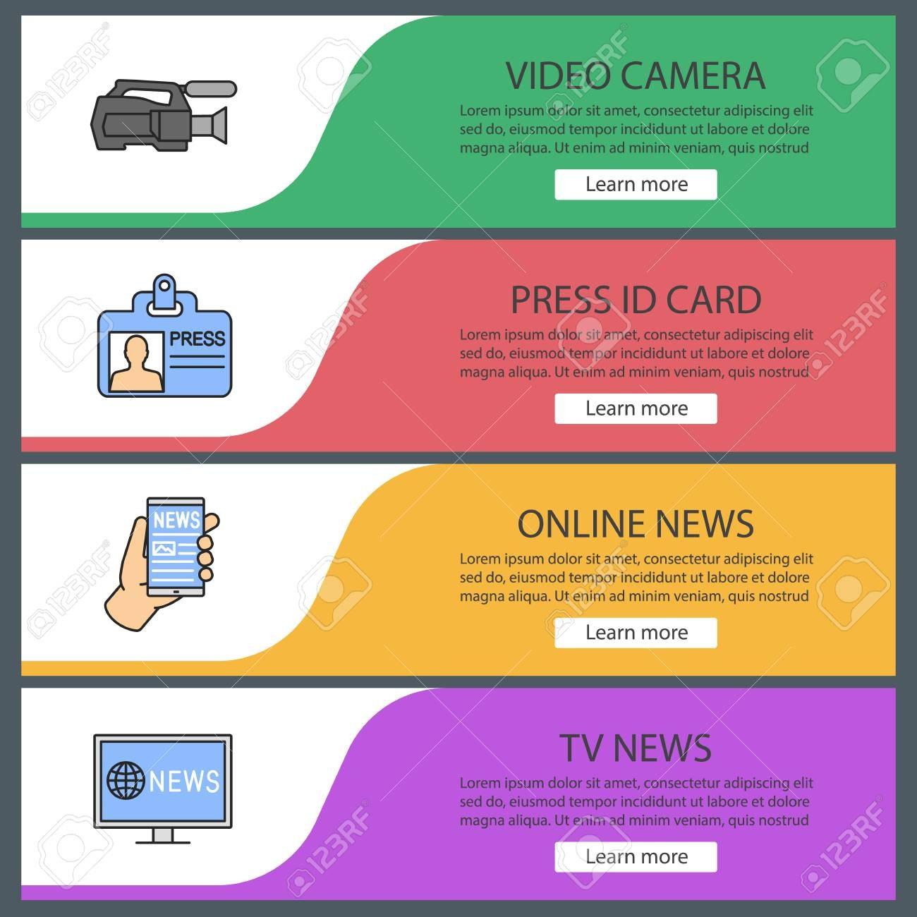 Mass Media Web Banner Templates Set Video Camera Press Id Card With Media Id Card Templates