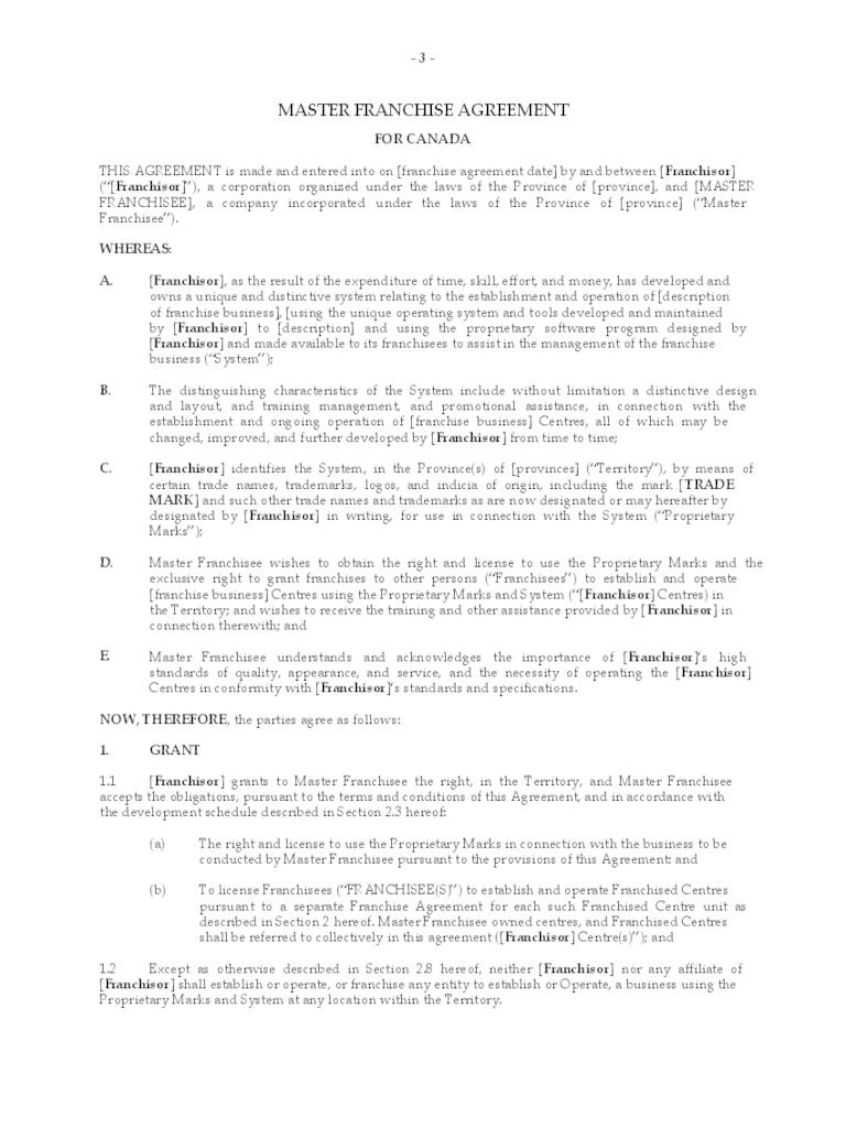 Master Franchise Agreement Template Master Franchise Agreement Free With Regard To Master Franchise Agreement Template