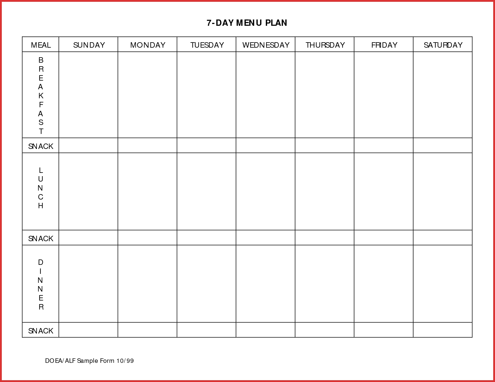 Meal Plan Template Excel Dayndar Printable Planner Free In Camping Menu Planner Template