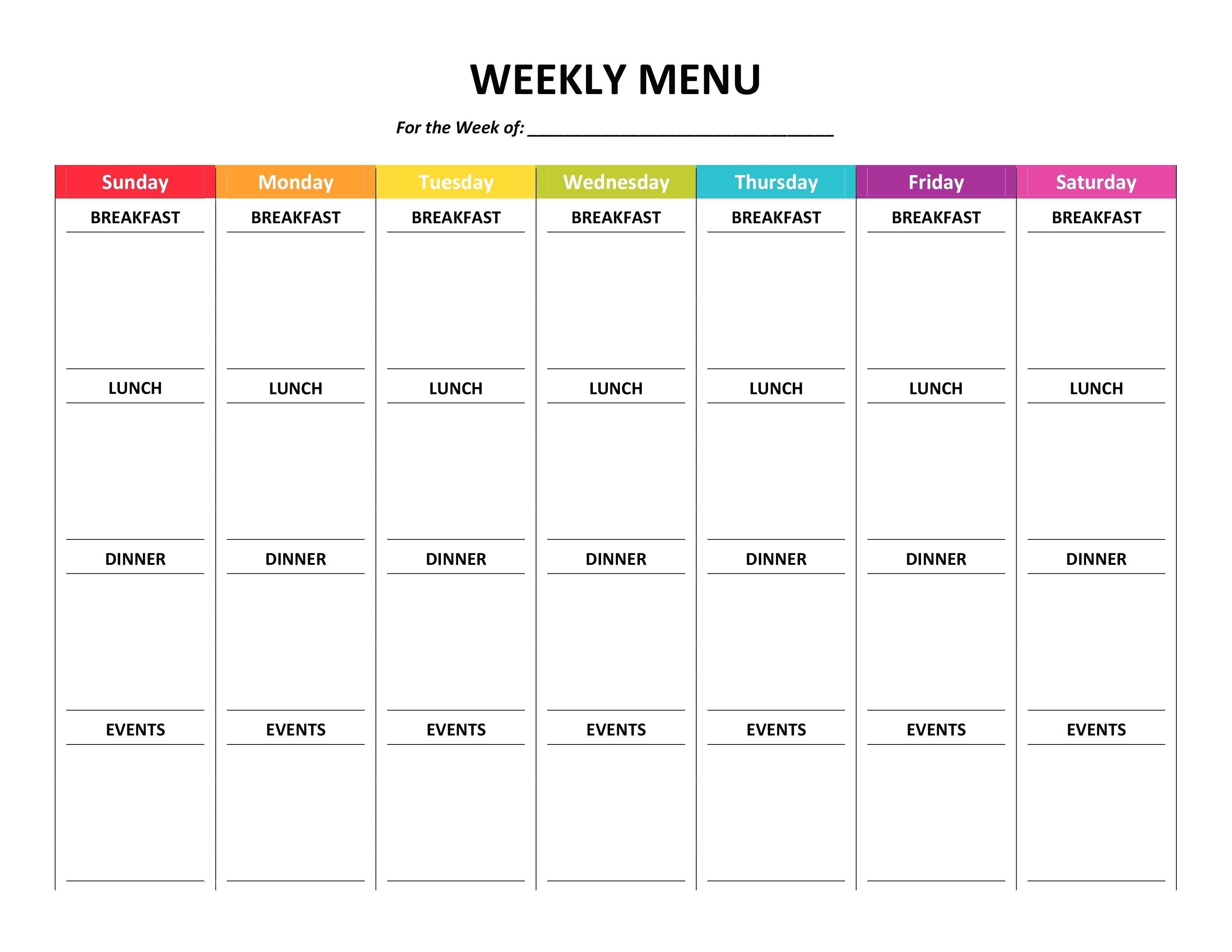 Meal Plan Template Word Weekly Menu Planner Fresh Of ~ Tinypetition With Weekly Menu Template Word