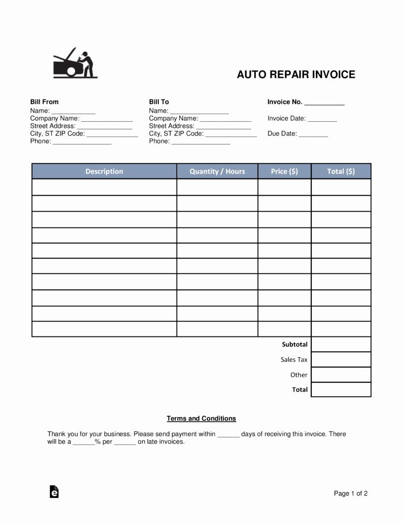 Mechanic Shop Invoice Templates – Amandaeca Inside Mechanic Shop Invoice Templates