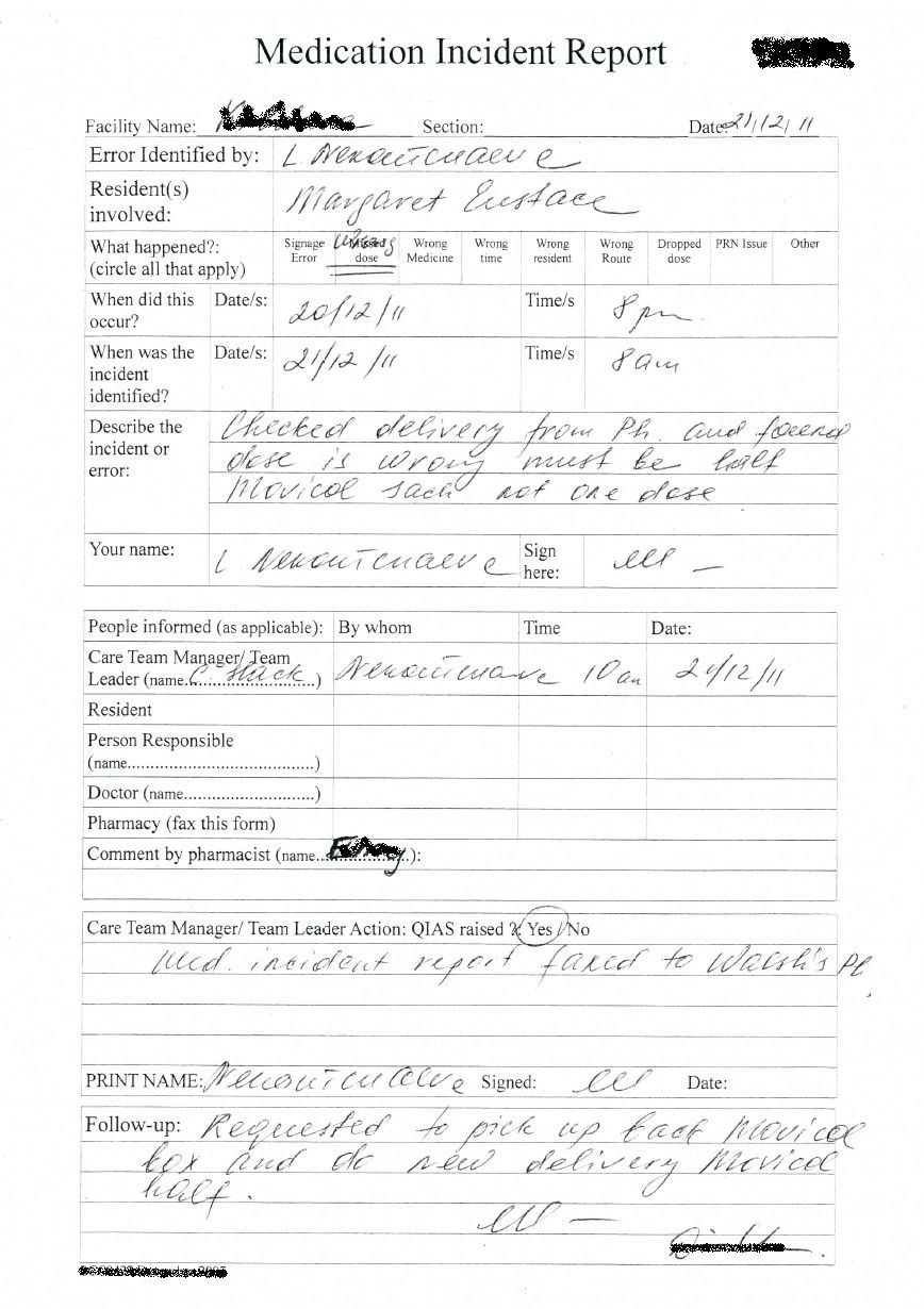 Med Error Incident Report  Sansurabionetassociats With Medication Incident Report Form Template