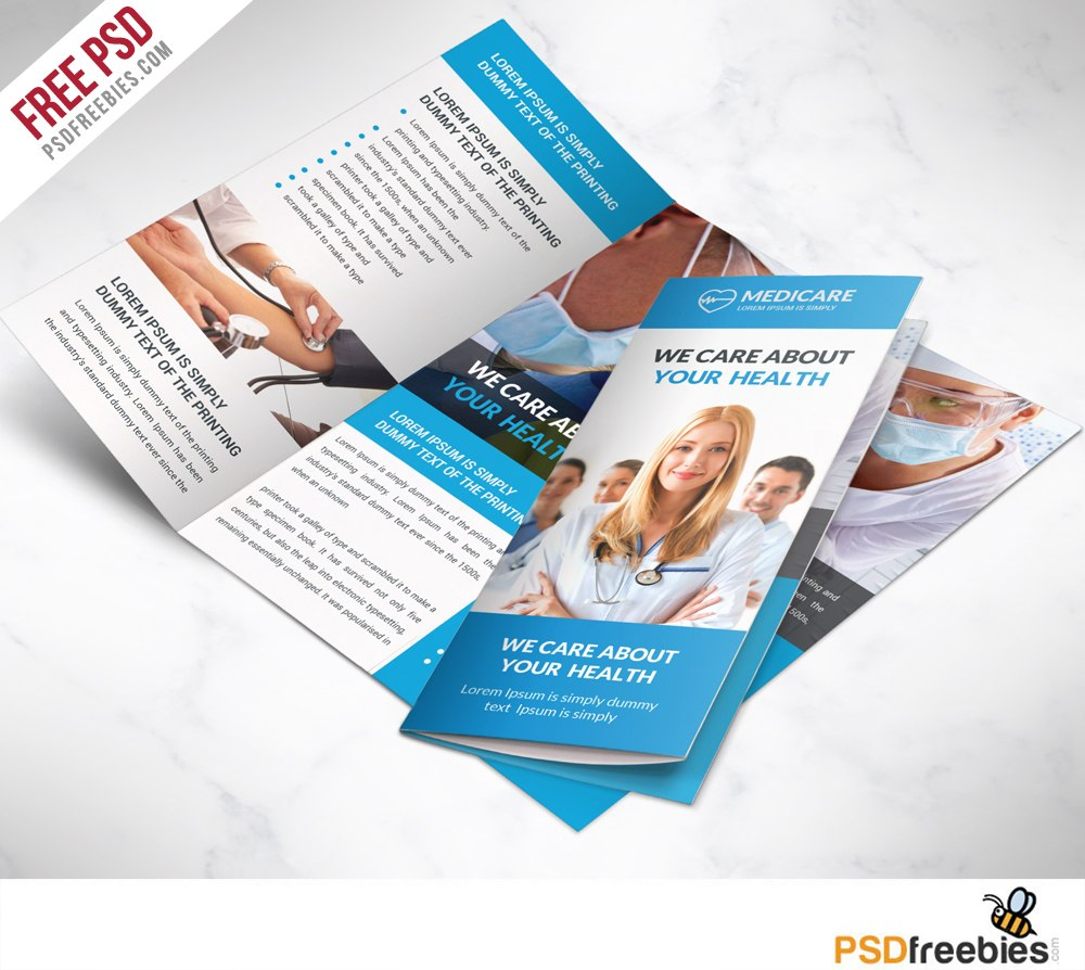 Medical Care And Hospital Trifold Brochure Template Free Psd Pertaining To 3 Fold Brochure Template Psd Free Download