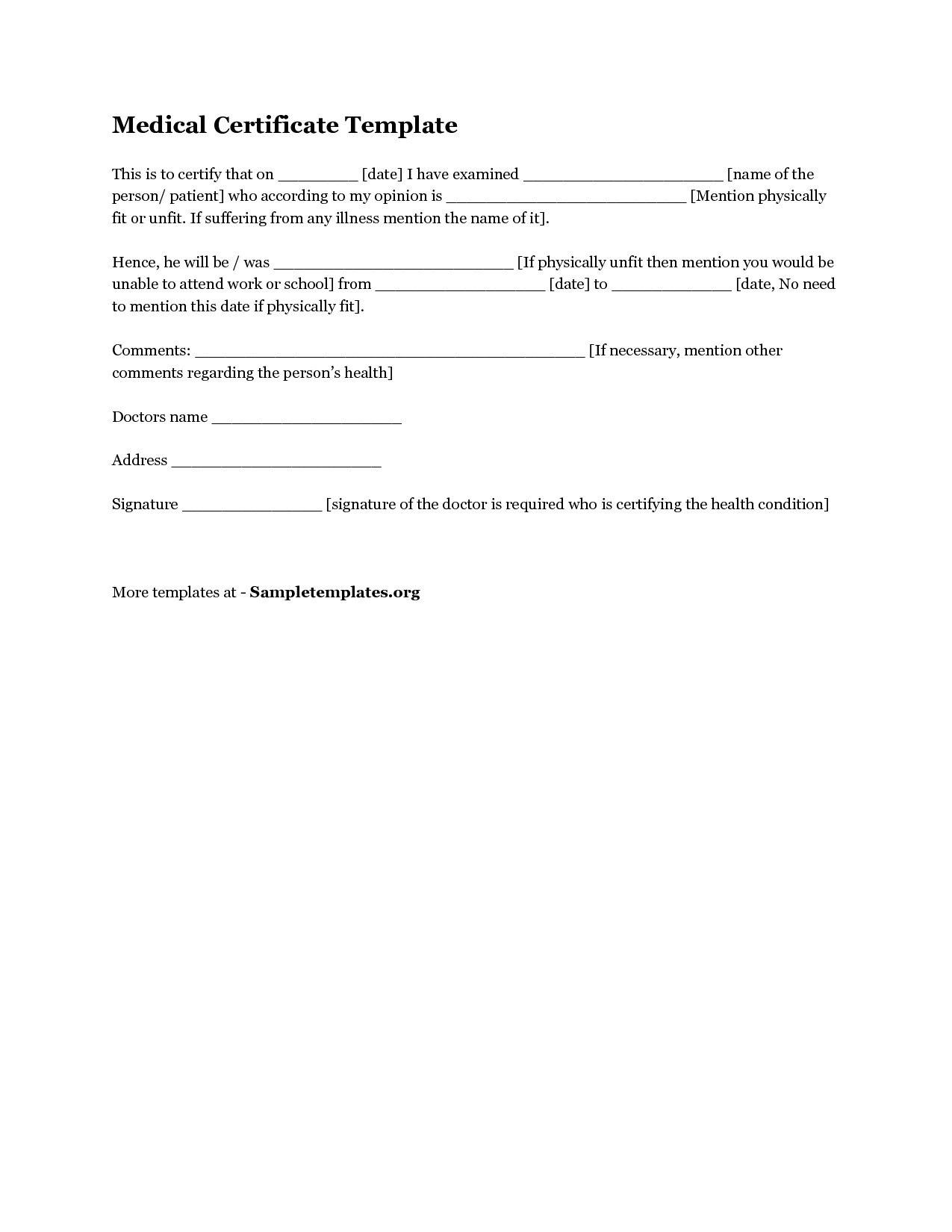 Medical Certificate Example Australia Regarding Australian Doctors Certificate Template