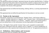Medical Device Quality Agreement Template  Pdf inside Supplier Quality Agreement Template