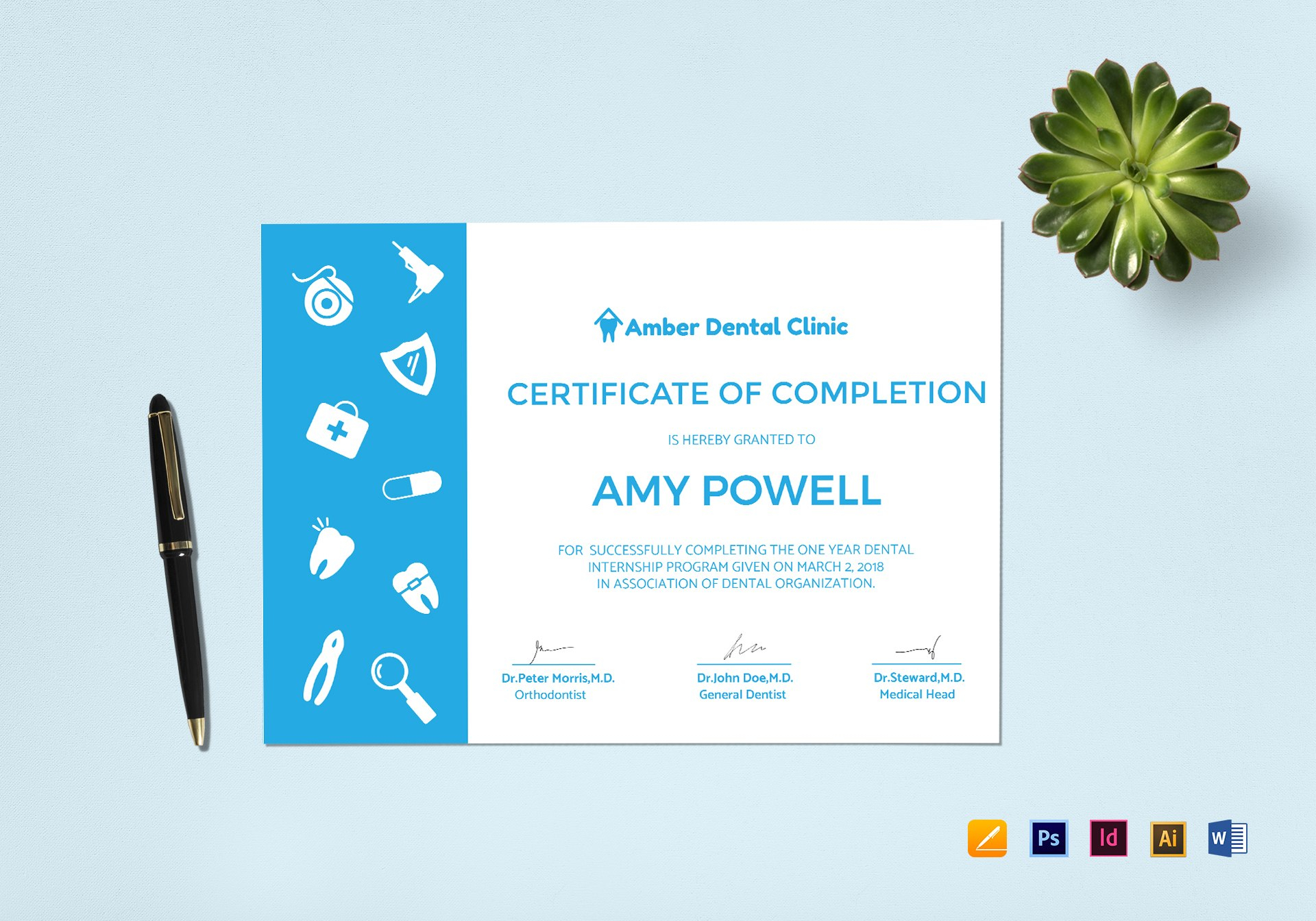 Medical Internship Certificate Design Template In Psd Word Regarding Certificate Template For Pages