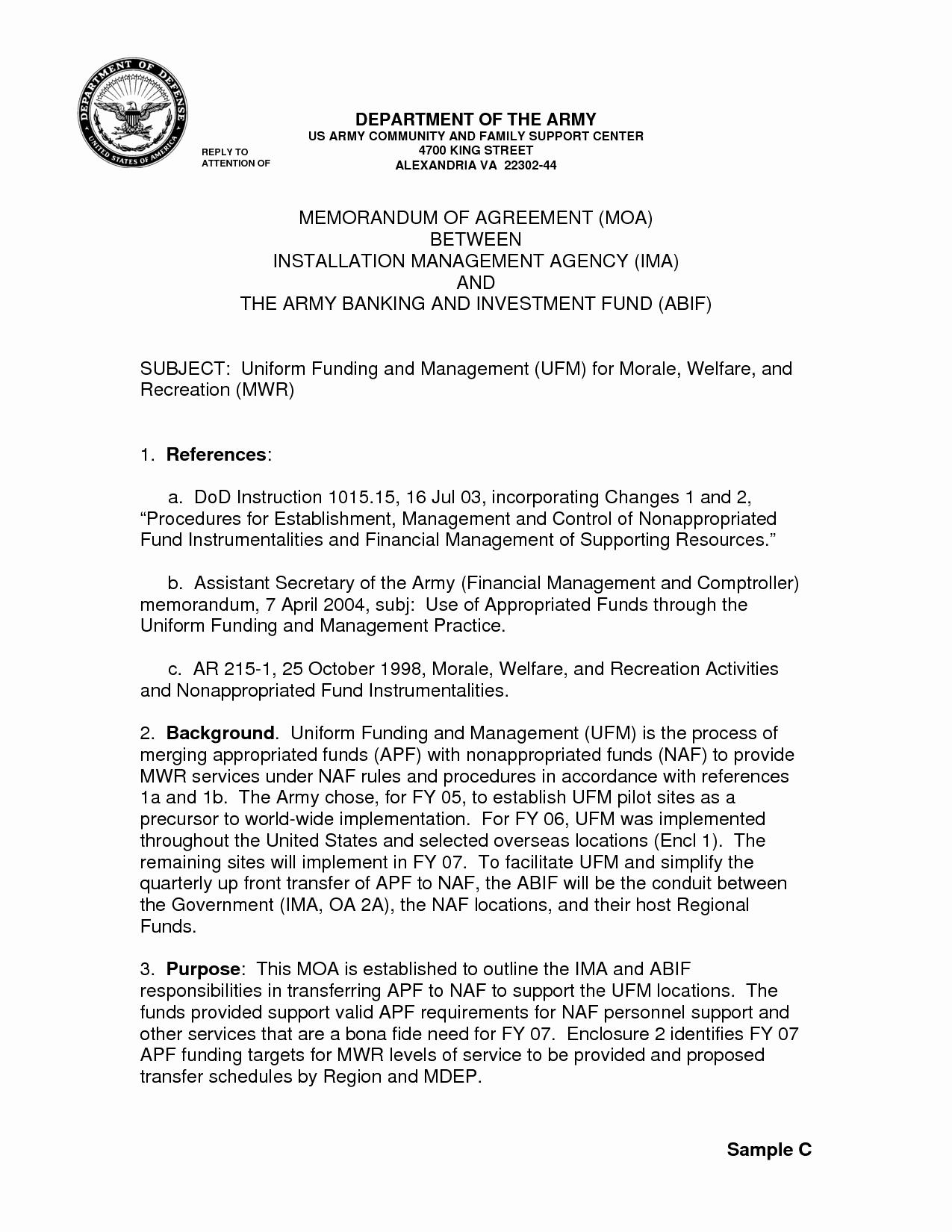 Memorandum Of Agreement Sample Lovely  Best Of Sample Memorandum With Regard To Memorandum Of Agreement Template Army