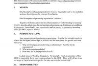 Memorandum Of Understanding Format For Business Of Business with Template For Memorandum Of Understanding In Business