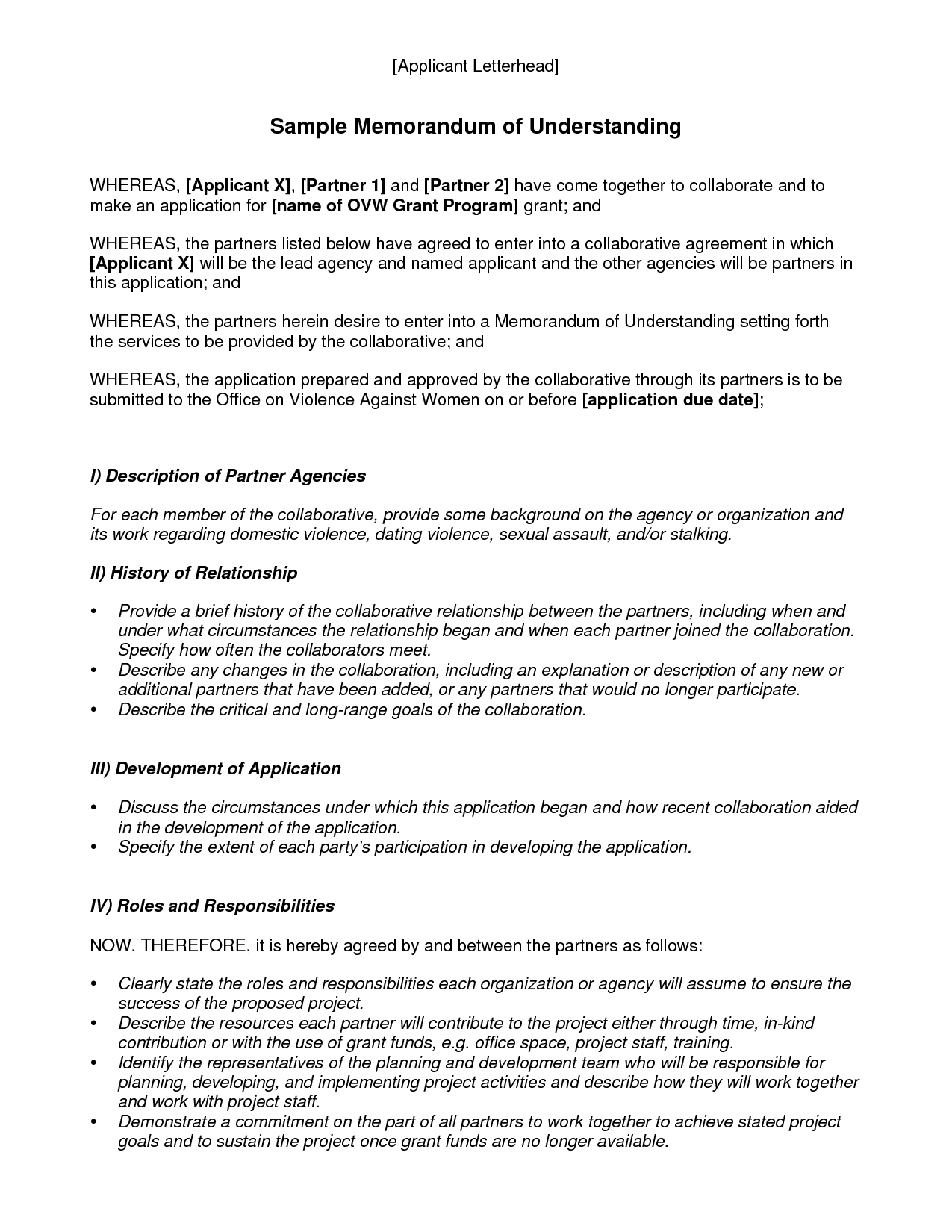 Memorandum Of Understanding Template  Best Template Collection Pertaining To Template For Memorandum Of Understanding In Business
