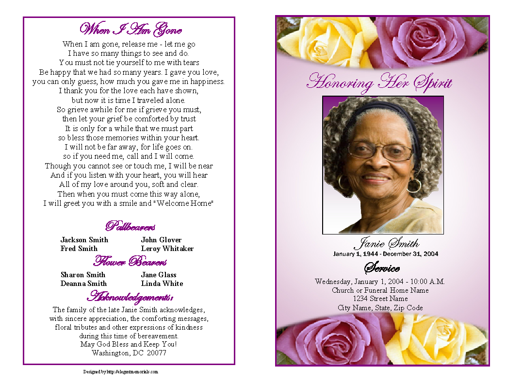 Memorial Service Programs Sample  Choose From A Variety Of Cover With Memorial Cards For Funeral Template Free