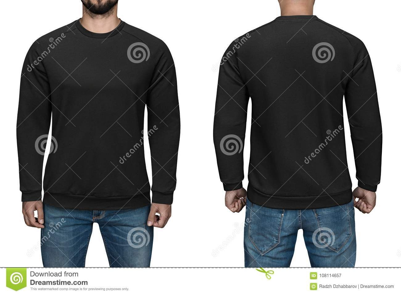 Men In Blank Black Pullover Front And Back View White Background Intended For Blank Black Hoodie Template