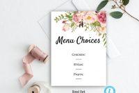 Menu Choices Card Menu Choices Template Floral Wedding  Etsy for Wedding Menu Choice Template