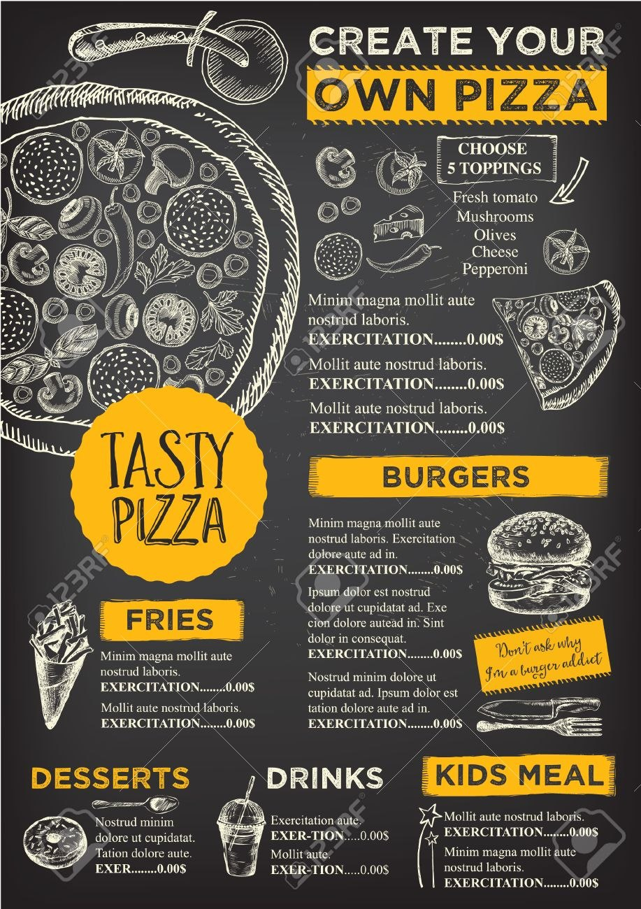 Menu Placemat Food Restaurant Brochure Menu Template Design In Menu Board Design Templates Free