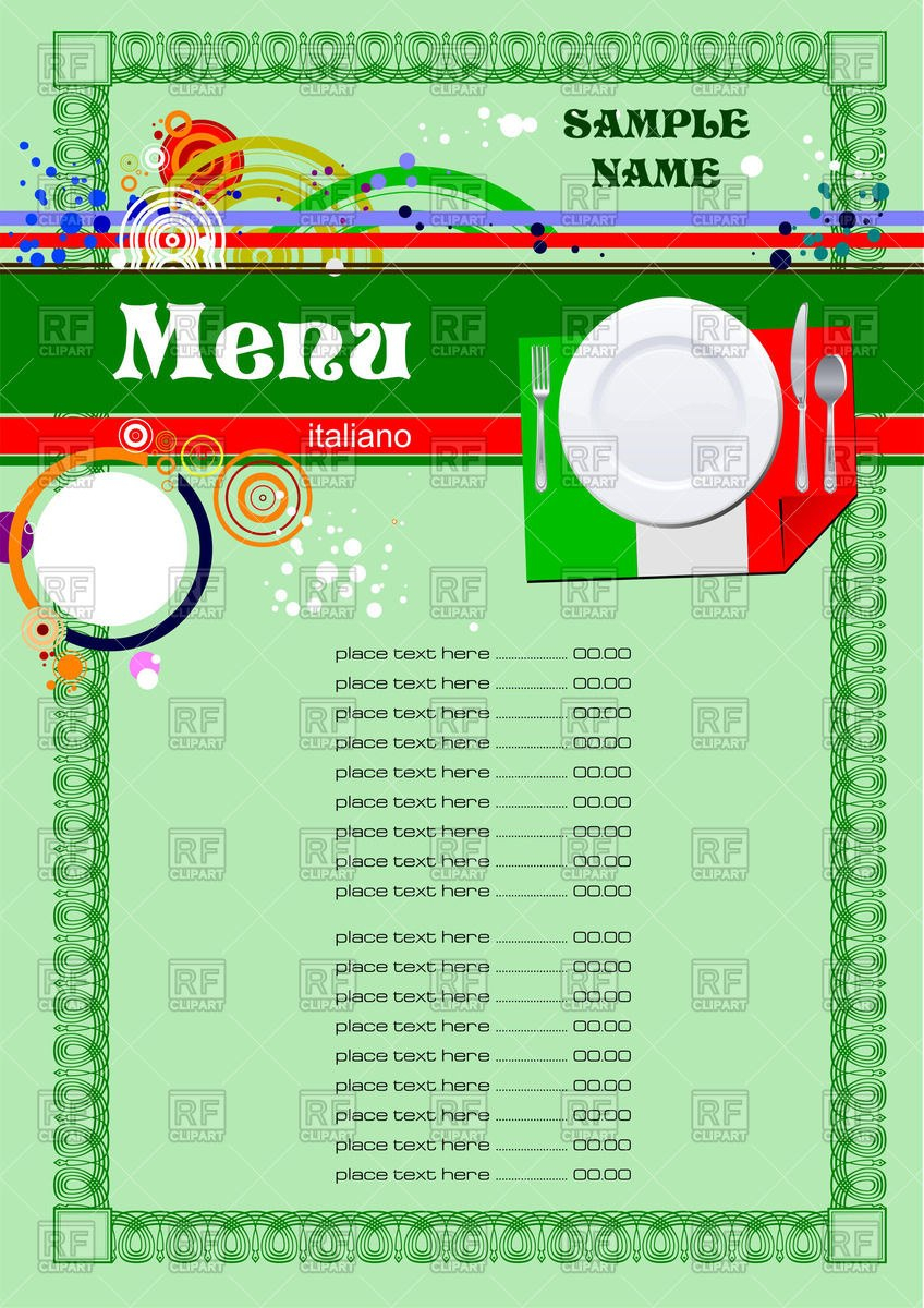 Menu Template For Italian Restaurant Or Cafe Vector Image Of Food For French Cafe Menu Template