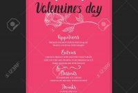 Menu Template For Valentine Day Dinner Flyer With Handdrawn regarding Valentine Menu Templates Free
