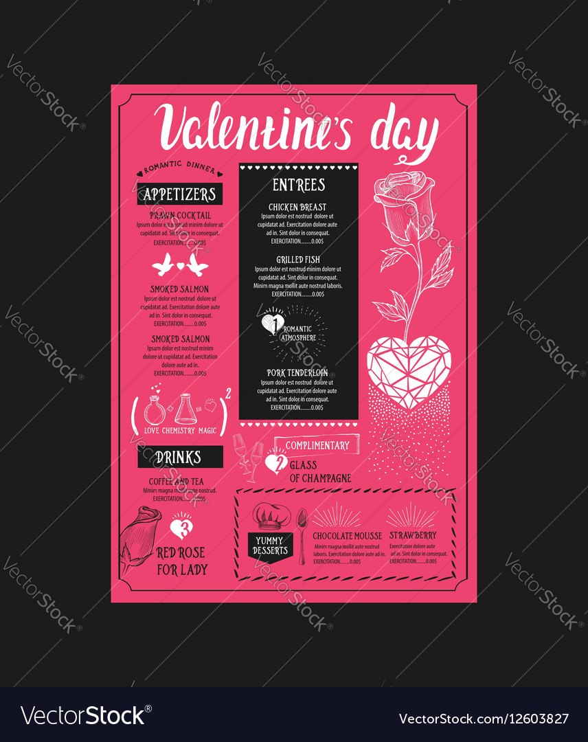 Menu Template For Valentine Day Dinner Royalty Free Vector With Regard To Valentine Menu Templates Free