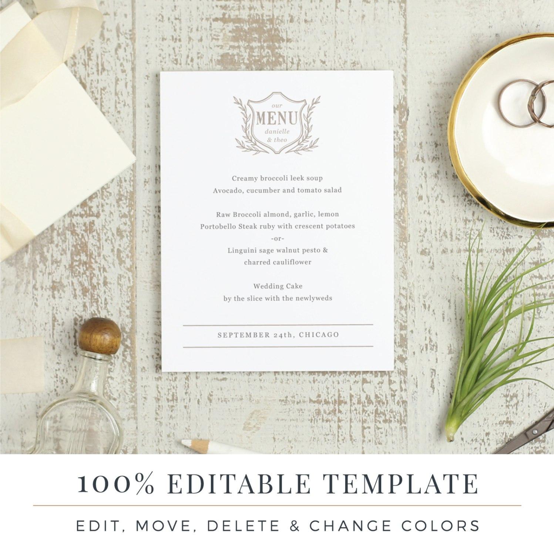 Menu Template Printable Wedding Menu Diy Menu Word Or  Etsy Throughout Menu Template For Pages