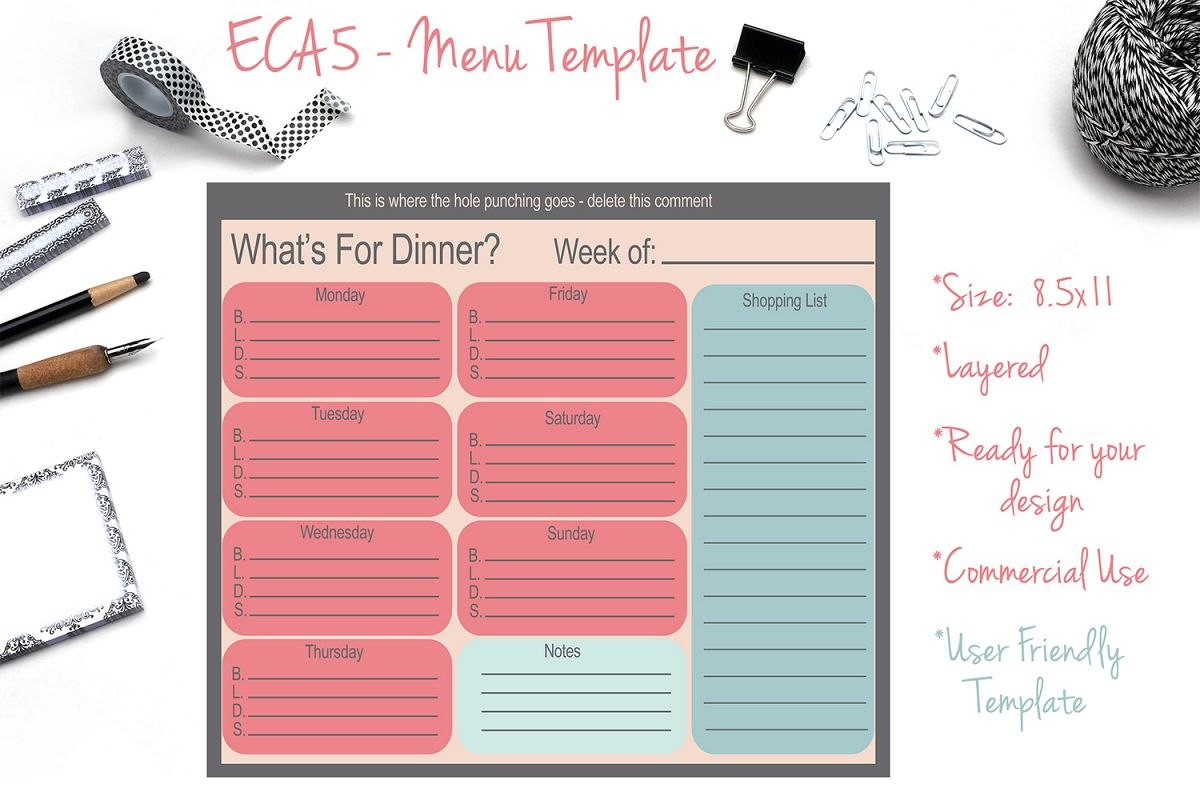Menu Template With Product Menu Template