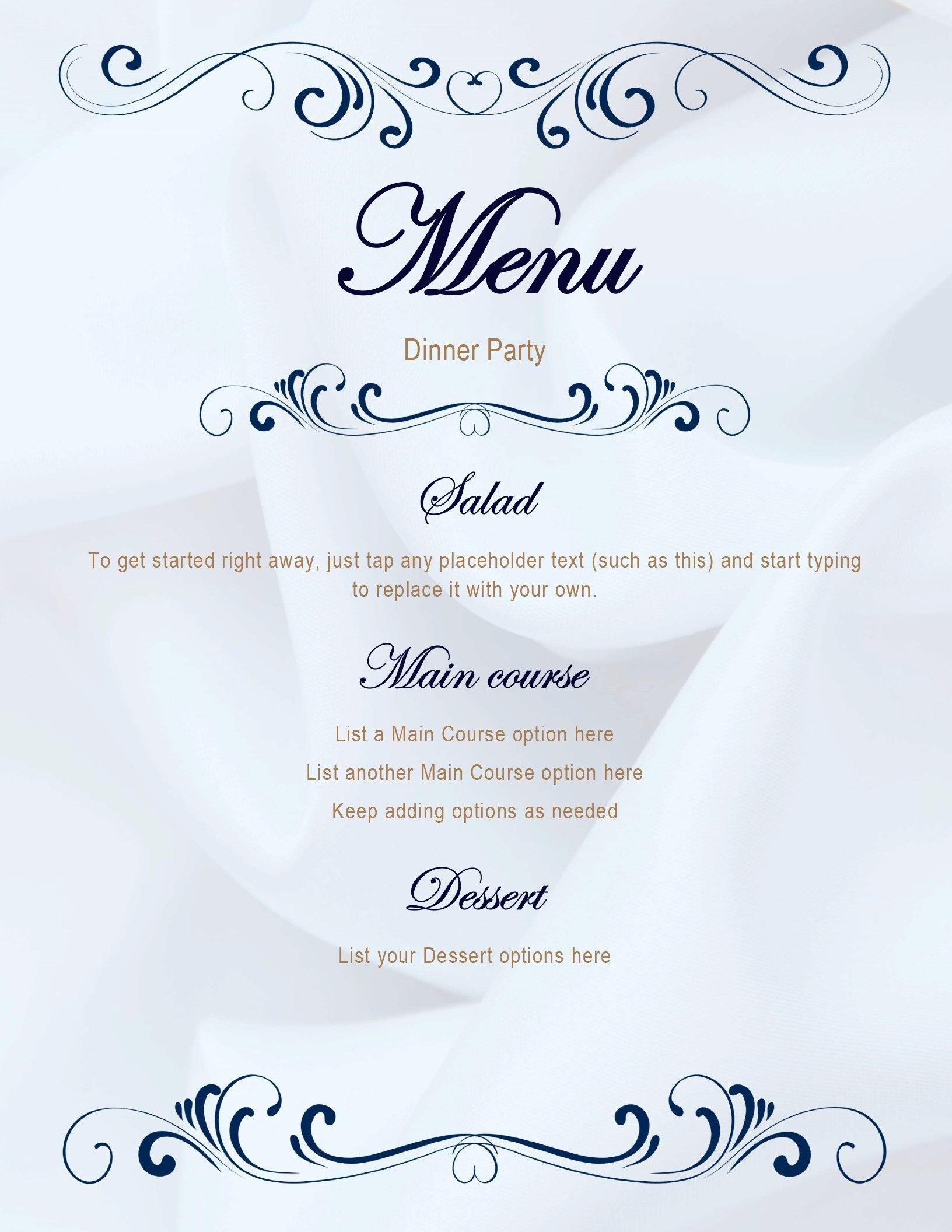 Menus  Office With Blank Dinner Menu Template