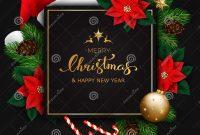 Merry Christmas Banner With Christmas Tree Branches And Poinsettia with Merry Christmas Banner Template