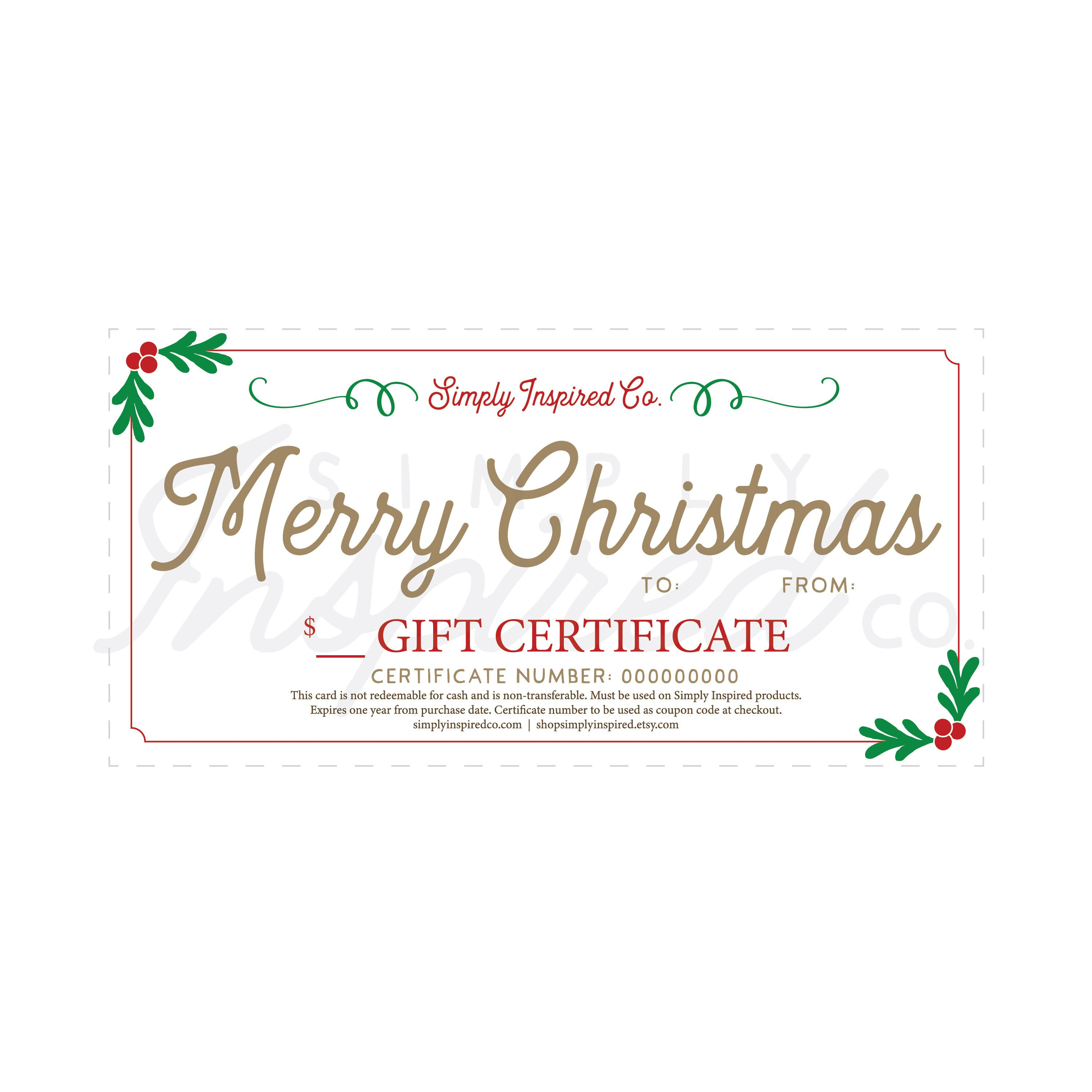 Merry Christmas Gift Certificate Gift Christmas Gift  Etsy In Merry Christmas Gift Certificate Templates