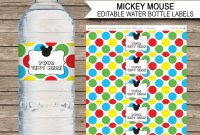Mickey Mouse Party Water Bottle Labels  Mickey Mouse Theme throughout Minnie Mouse Water Bottle Labels Template