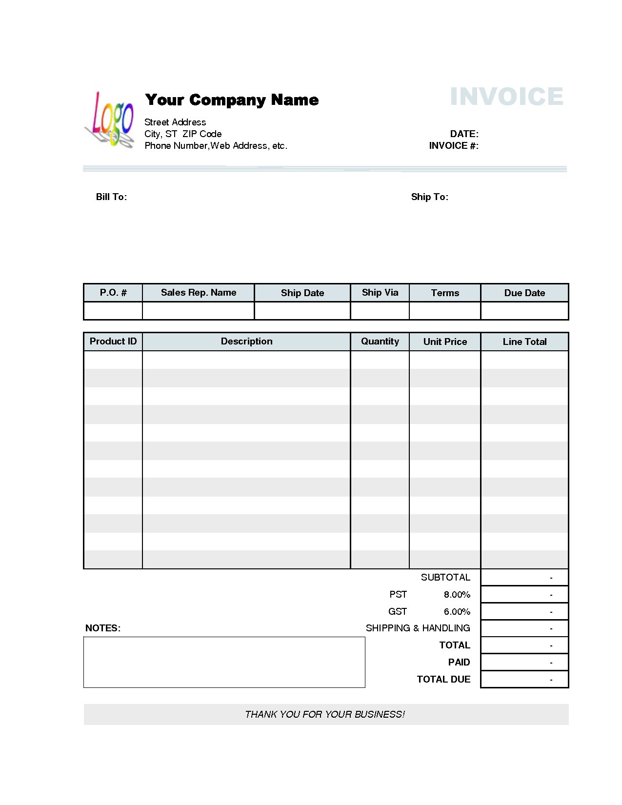 Microsoft Excel Invoice Template Business Templates Melo Intended For Free Business Invoice Template Downloads